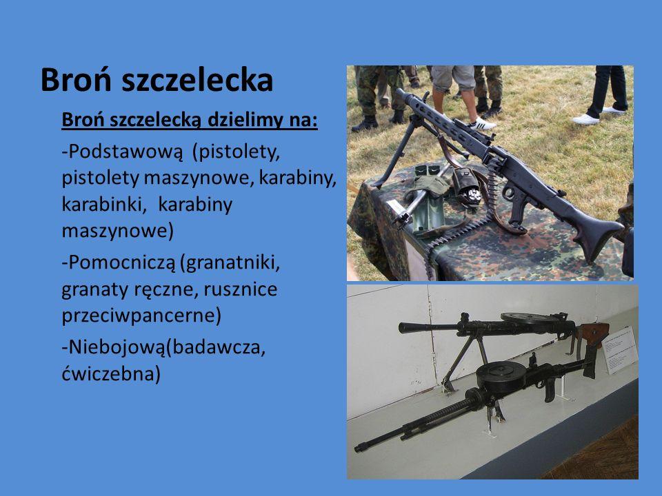 Broń szczelecka Broń szczelecką dzielimy na: -Podstawową (pistolety, pistolety maszynowe, karabiny, karabinki, karabiny maszynowe) -Pomocniczą (granat