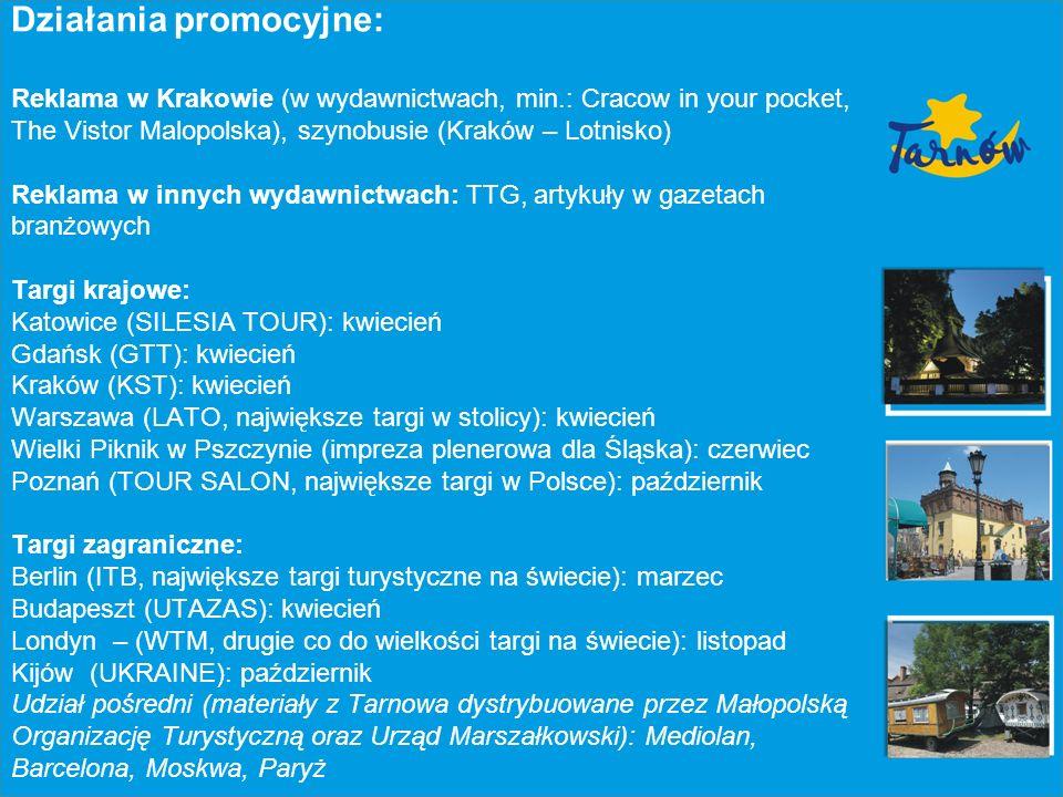 Współdziałanie z branżą turystyczną i mediami branżowymi: Organizacja Study Press Organizacja Study Tour Pomoc dla MOT i Urzędu Marszałkowskiego przy organizowaniu Study Press/Tour na terenie Tarnowa i okolicy; Bieżąca współpraca z mediami branżowymi (np.: TTG, Wiadomości Turystyczne, Aktualności Turystyczne) oraz portalami branżowymi (np.: www.turystyczny.pl www.itpolska.pl)