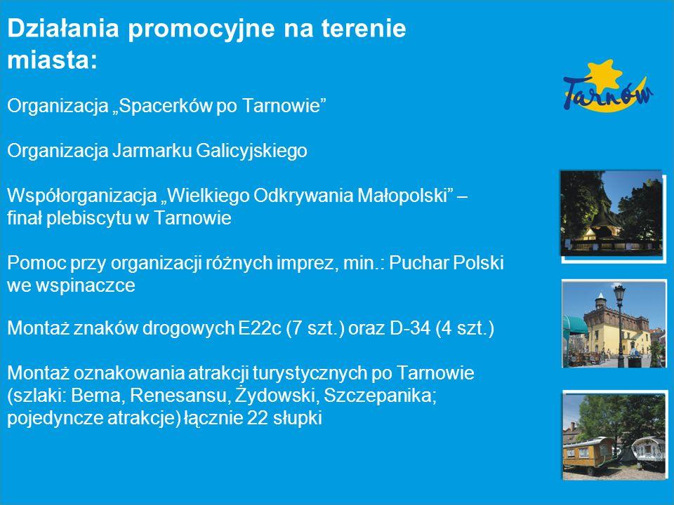 Działalność wydawnicza: Przewodnik po Tarnowie (w trakcie realizacji) Folder Tarnów i region (wersje językowe: polska, angielska, niemiecka, hiszpańska, włoska); na bieżąco Ulotki Tarnów (darmowe ulotki dystrybuowane w mieście i w regionie); 18 rodzajów tematycznych