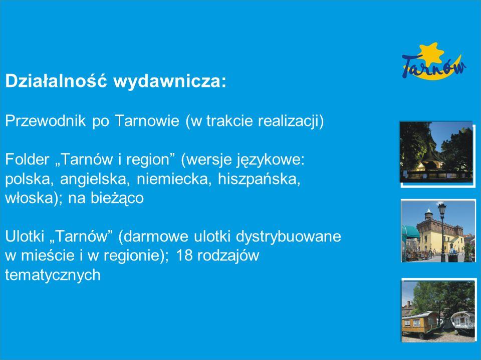 Działalność wydawnicza: Przewodnik po Tarnowie (w trakcie realizacji) Folder Tarnów i region (wersje językowe: polska, angielska, niemiecka, hiszpańsk