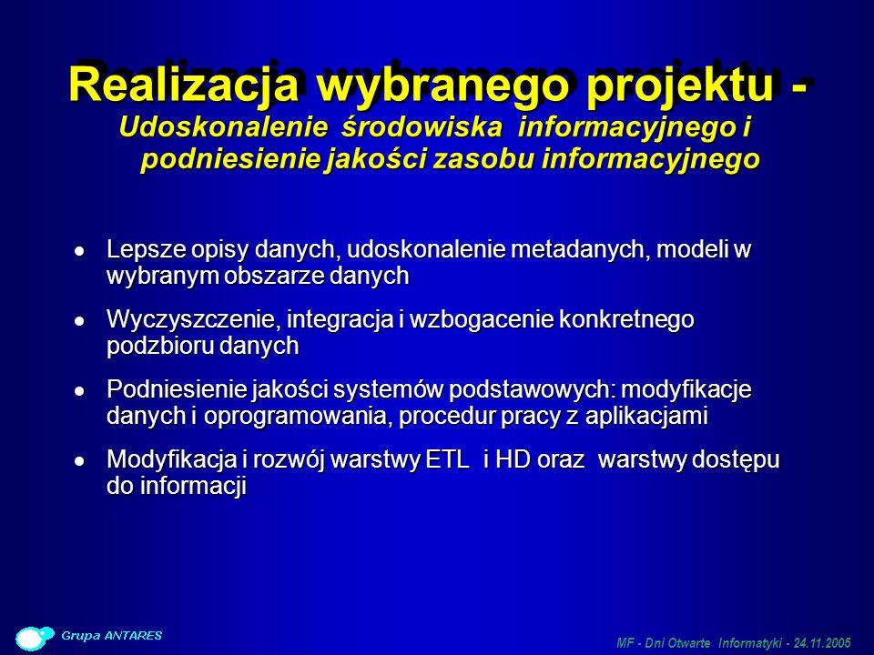MF - Dni Otwarte Informatyki - 24.11.2005 Realizacja wybranego projektu - Udoskonalenie środowiska informacyjnego i podniesienie jakości zasobu inform