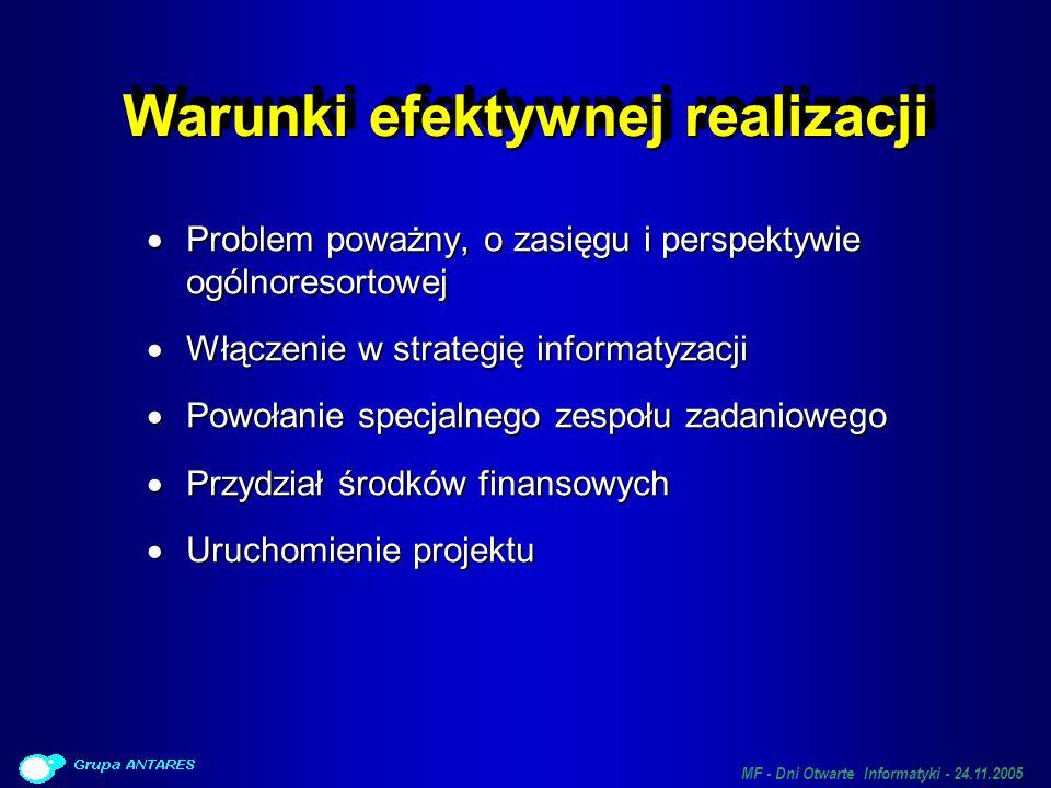 MF - Dni Otwarte Informatyki - 24.11.2005 Warunki efektywnej realizacji Problem poważny, o zasięgu i perspektywie ogólnoresortowej Problem poważny, o