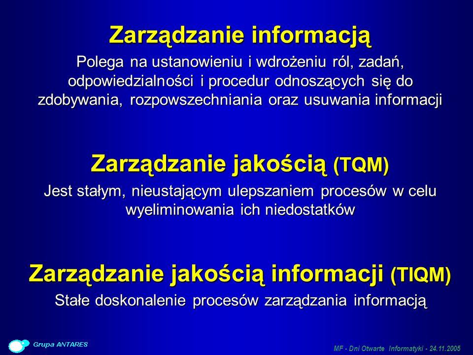 MF - Dni Otwarte Informatyki - 24.11.2005 Podstawowe zasady podejścia opartego o TIQM Kompleksowe Kompleksowe Cała organizacja, wszystkie działy, wszyscy pracownicy Wszystkie procesy działalności Wszystkie systemy informatyczne Cały cykl życia SI (od projektu, przez budowę, po eksploatację) Scentralizowane – skupione na potrzebach instytucji jako całości Scentralizowane – skupione na potrzebach instytucji jako całości Wdrożony formalny, stały proces zarządzania jakością informacji Wdrożony formalny, stały proces zarządzania jakością informacji Nie pojedyncza akcja.