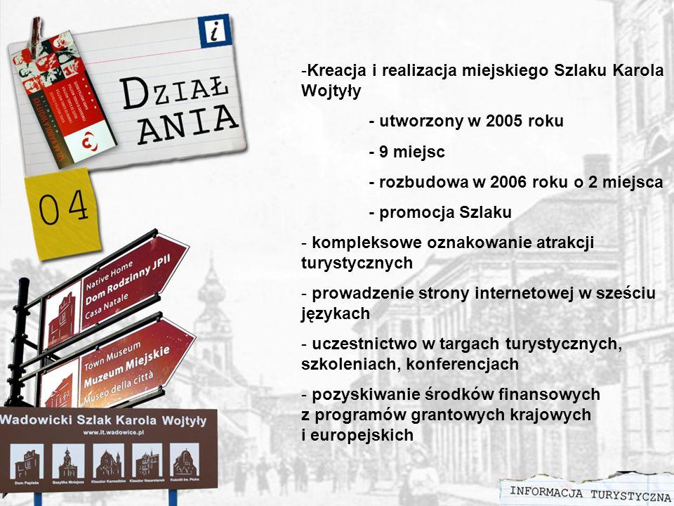-Kreacja i realizacja miejskiego Szlaku Karola Wojtyły - utworzony w 2005 roku - 9 miejsc - rozbudowa w 2006 roku o 2 miejsca - promocja Szlaku - kompleksowe oznakowanie atrakcji turystycznych - prowadzenie strony internetowej w sześciu językach - uczestnictwo w targach turystycznych, szkoleniach, konferencjach - pozyskiwanie środków finansowych z programów grantowych krajowych i europejskich