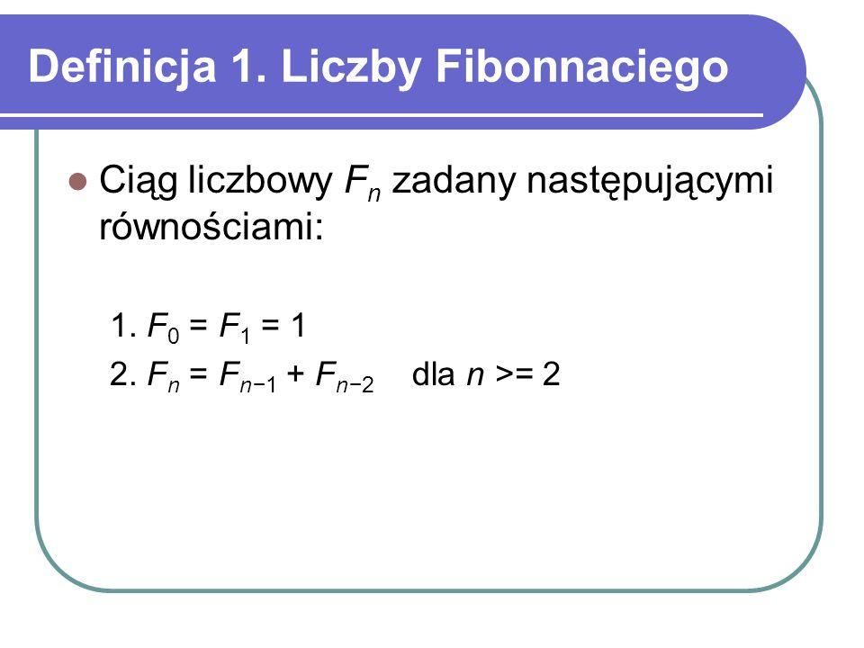 Definicja 1. Liczby Fibonnaciego Ciąg liczbowy F n zadany następującymi równościami: 1. F 0 = F 1 = 1 2. F n = F n1 + F n2 dla n >= 2