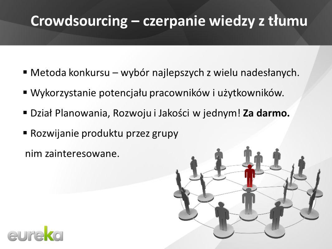 Crowdsourcing – czerpanie wiedzy z t ł umu Metoda konkursu – wybór najlepszych z wielu nadesłanych.