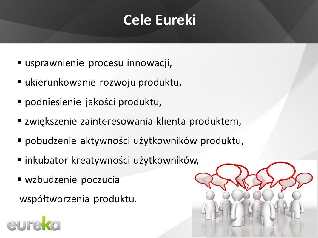 Cele Eureki usprawnienie procesu innowacji, ukierunkowanie rozwoju produktu, podniesienie jakości produktu, zwiększenie zainteresowania klienta produktem, pobudzenie aktywności użytkowników produktu, inkubator kreatywności użytkowników, wzbudzenie poczucia współtworzenia produktu.