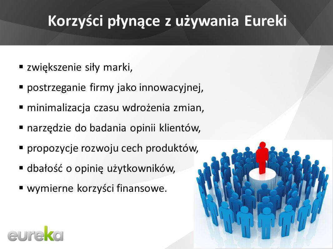 Korzyści płynące z używania Eureki zwiększenie siły marki, postrzeganie firmy jako innowacyjnej, minimalizacja czasu wdrożenia zmian, narzędzie do badania opinii klientów, propozycje rozwoju cech produktów, dbałość o opinię użytkowników, wymierne korzyści finansowe.