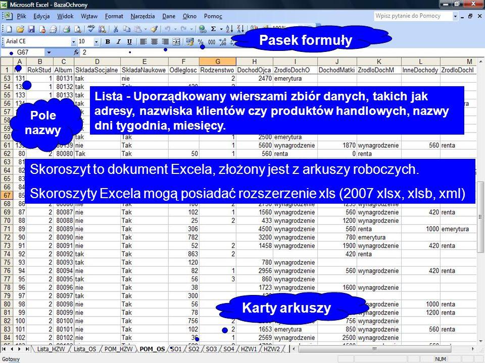 Skoroszyt to dokument Excela, złożony jest z arkuszy roboczych. Skoroszyty Excela mogą posiadać rozszerzenie xls (2007 xlsx, xlsb, xml) Lista - Uporzą