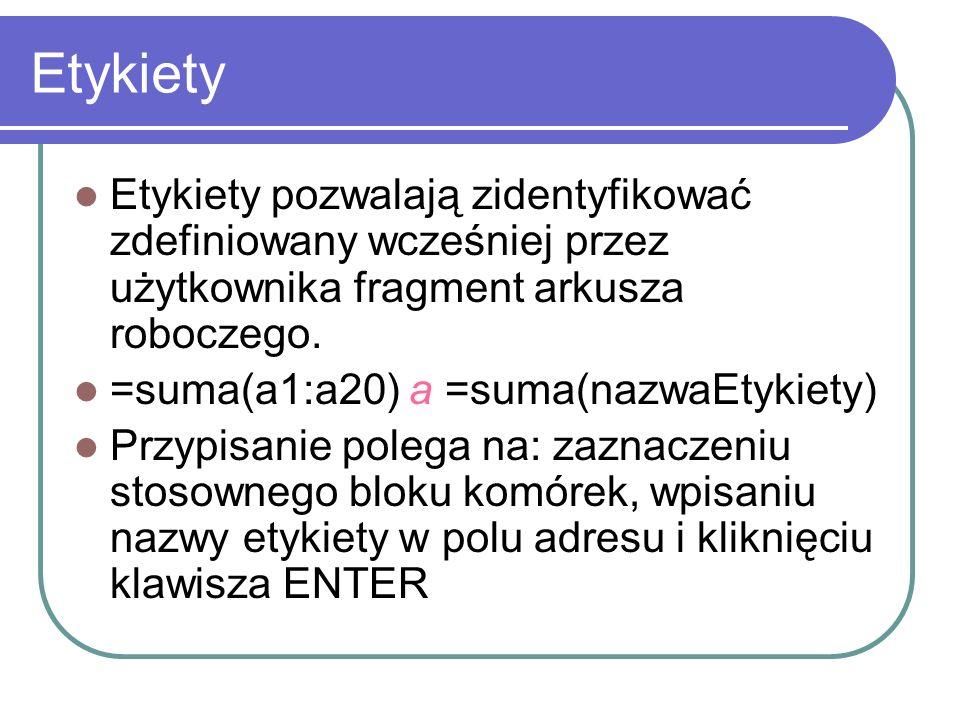 Etykiety Etykiety pozwalają zidentyfikować zdefiniowany wcześniej przez użytkownika fragment arkusza roboczego. =suma(a1:a20) a =suma(nazwaEtykiety) P