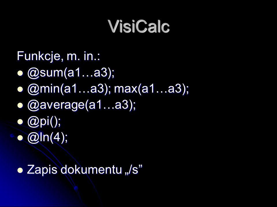 VisiCalc Funkcje, m.