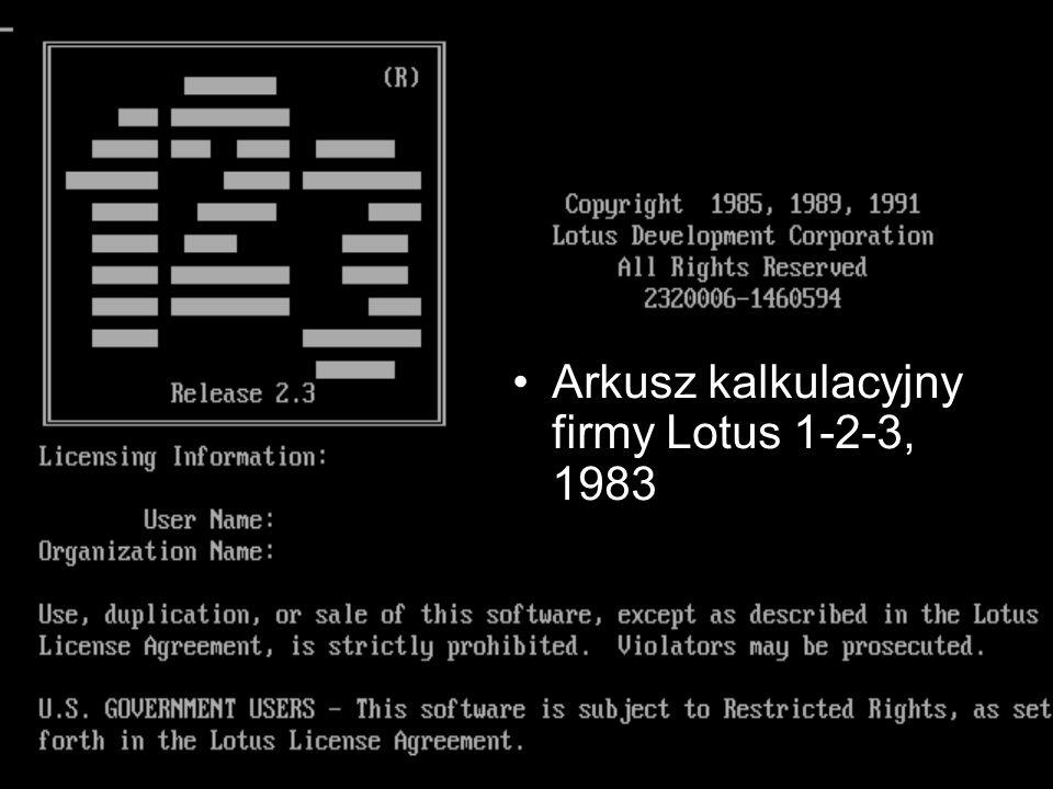 Arkusz kalkulacyjny firmy Lotus 1-2-3, 1983