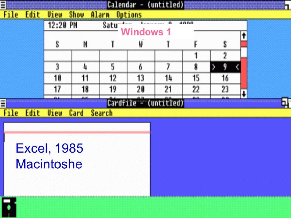 Excel, 1985 Macintoshe Windows 1