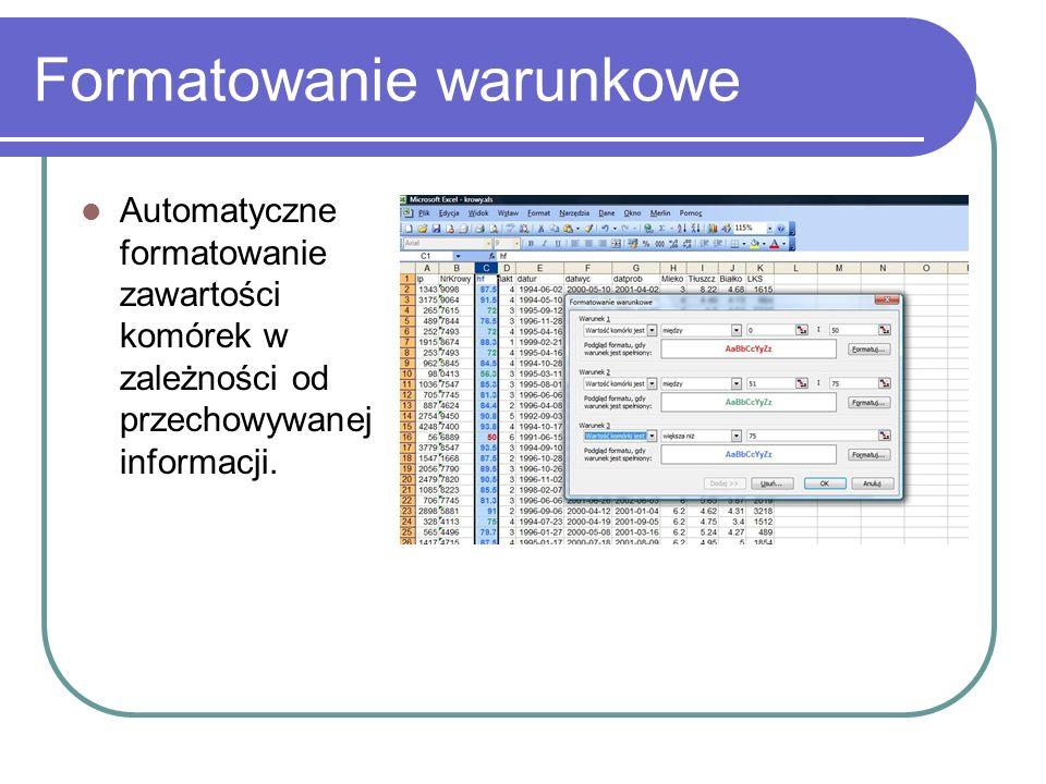 Formatowanie warunkowe Automatyczne formatowanie zawartości komórek w zależności od przechowywanej informacji.