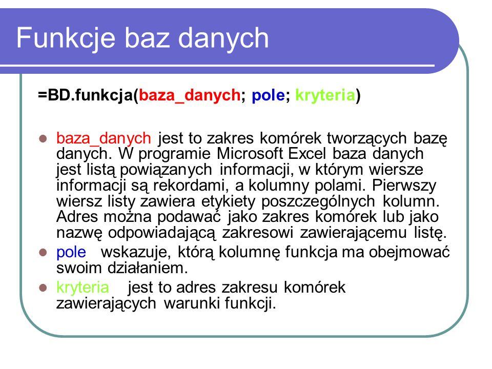 Funkcje baz danych =BD.funkcja(baza_danych; pole; kryteria) baza_danych jest to zakres komórek tworzących bazę danych. W programie Microsoft Excel baz