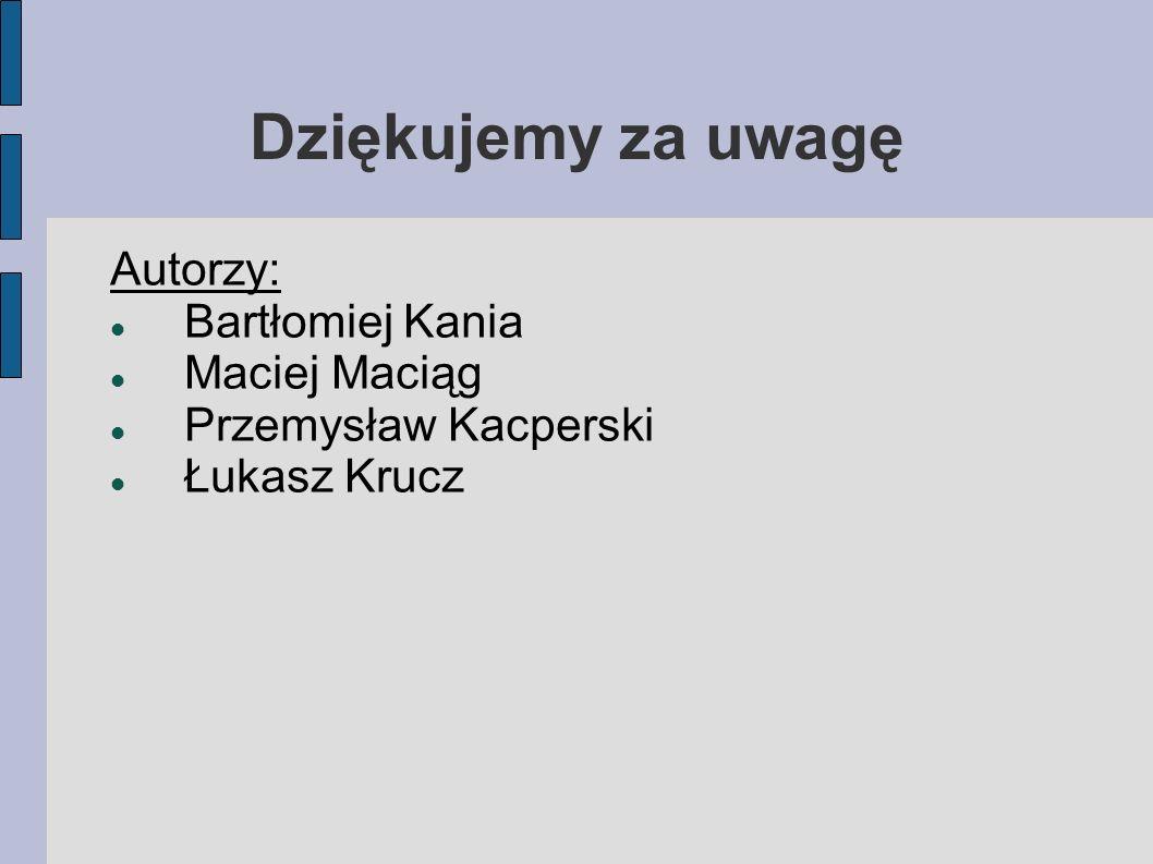 Dziękujemy za uwagę Autorzy: Bartłomiej Kania Maciej Maciąg Przemysław Kacperski Łukasz Krucz