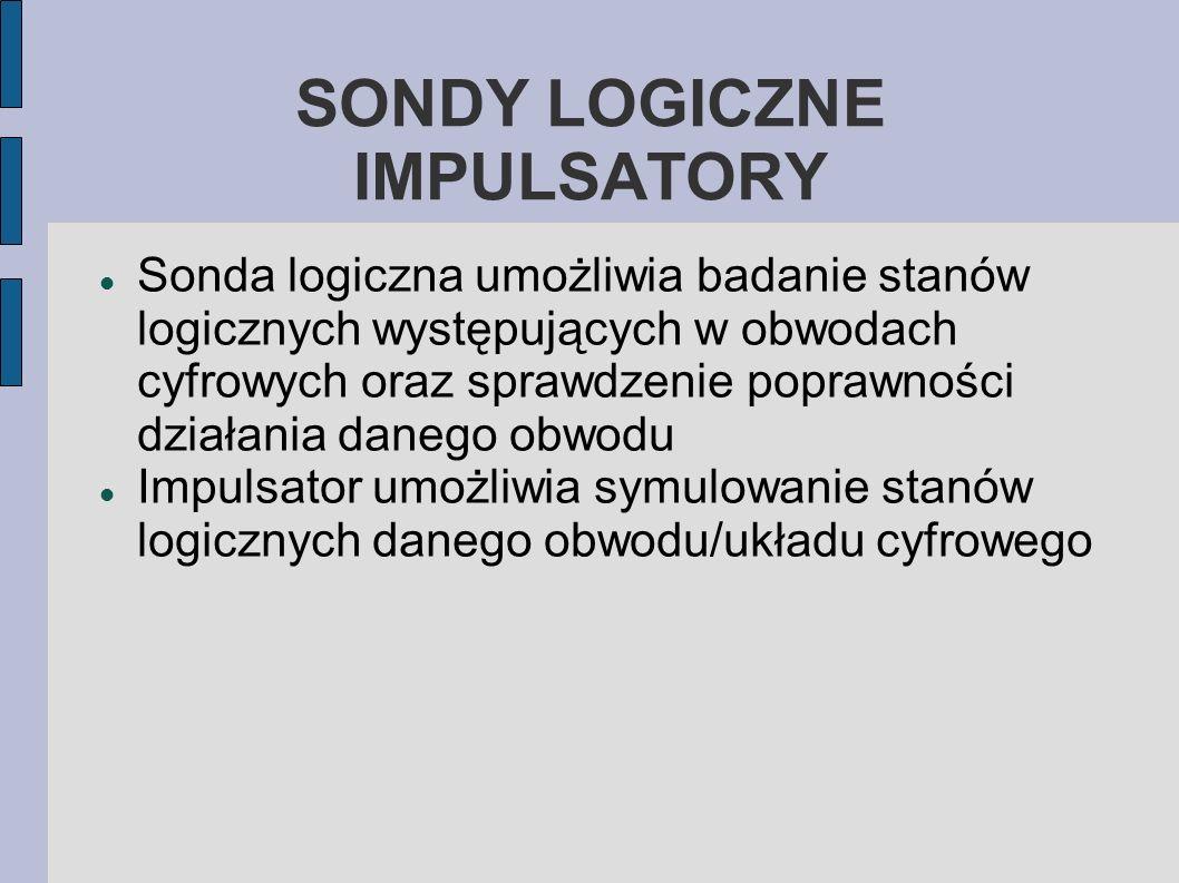 Sonda logiczna umożliwia badanie stanów logicznych występujących w obwodach cyfrowych oraz sprawdzenie poprawności działania danego obwodu Impulsator
