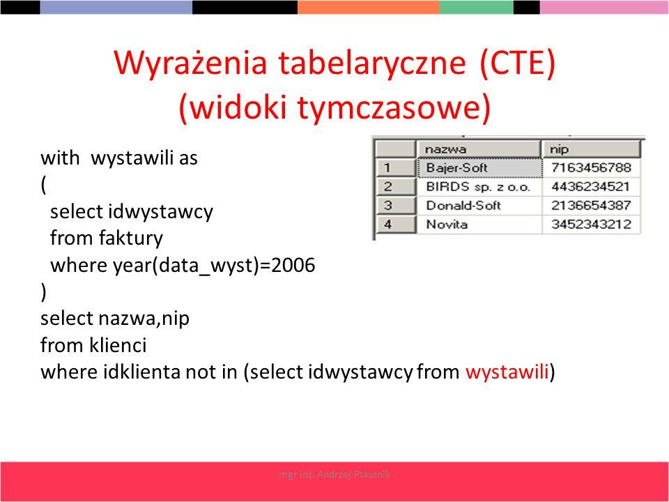 mgr inż. Andrzej Ptasznik Wyrażenia tabelaryczne (CTE) (widoki tymczasowe) with wystawili as ( select idwystawcy from faktury where year(data_wyst)=20