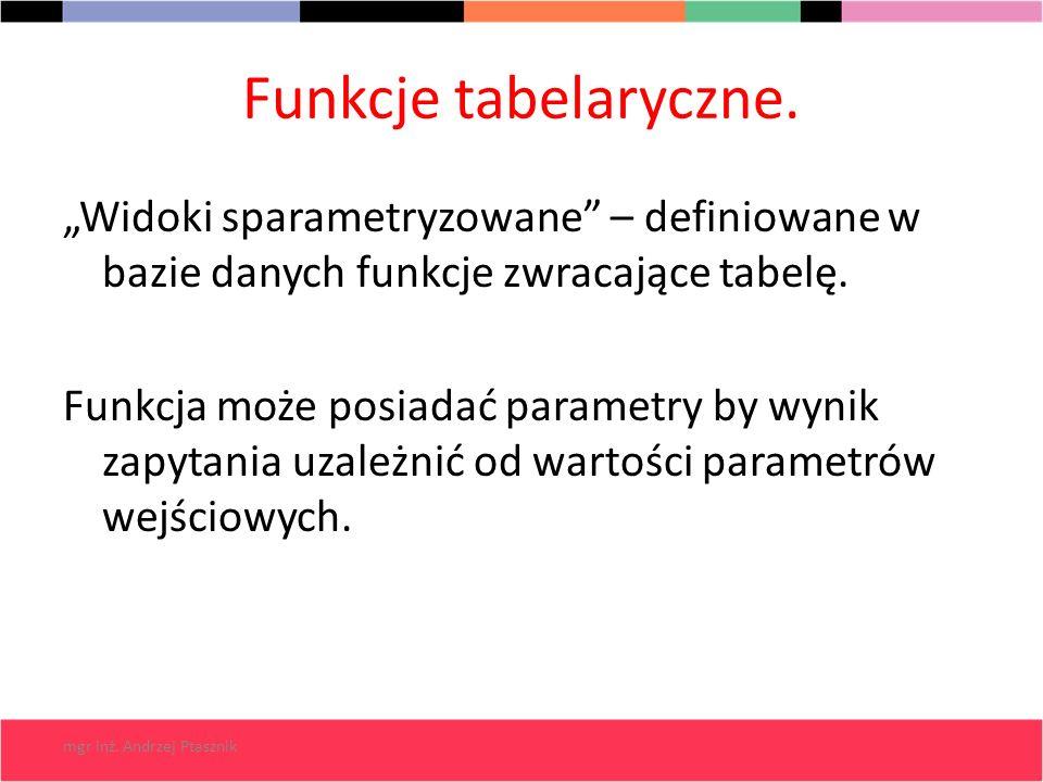 mgr inż. Andrzej Ptasznik Funkcje tabelaryczne. Widoki sparametryzowane – definiowane w bazie danych funkcje zwracające tabelę. Funkcja może posiadać