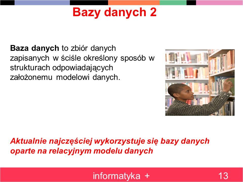 Bazy danych 2 informatyka +13 Baza danych to zbiór danych zapisanych w ściśle określony sposób w strukturach odpowiadających założonemu modelowi danyc