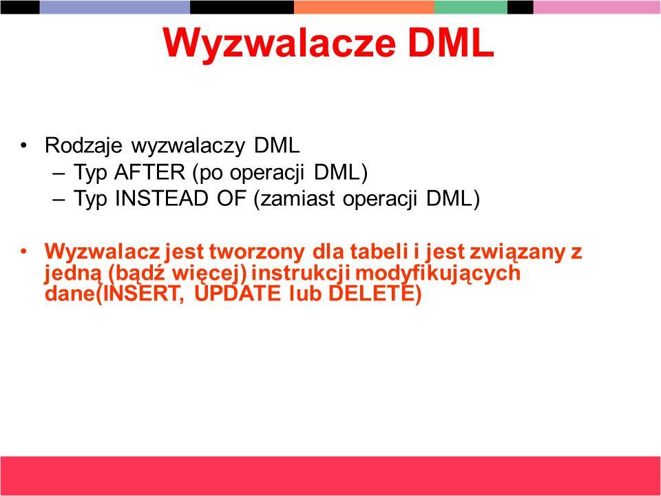 Wyzwalacze DML Rodzaje wyzwalaczy DML –Typ AFTER (po operacji DML) –Typ INSTEAD OF (zamiast operacji DML) Wyzwalacz jest tworzony dla tabeli i jest zw