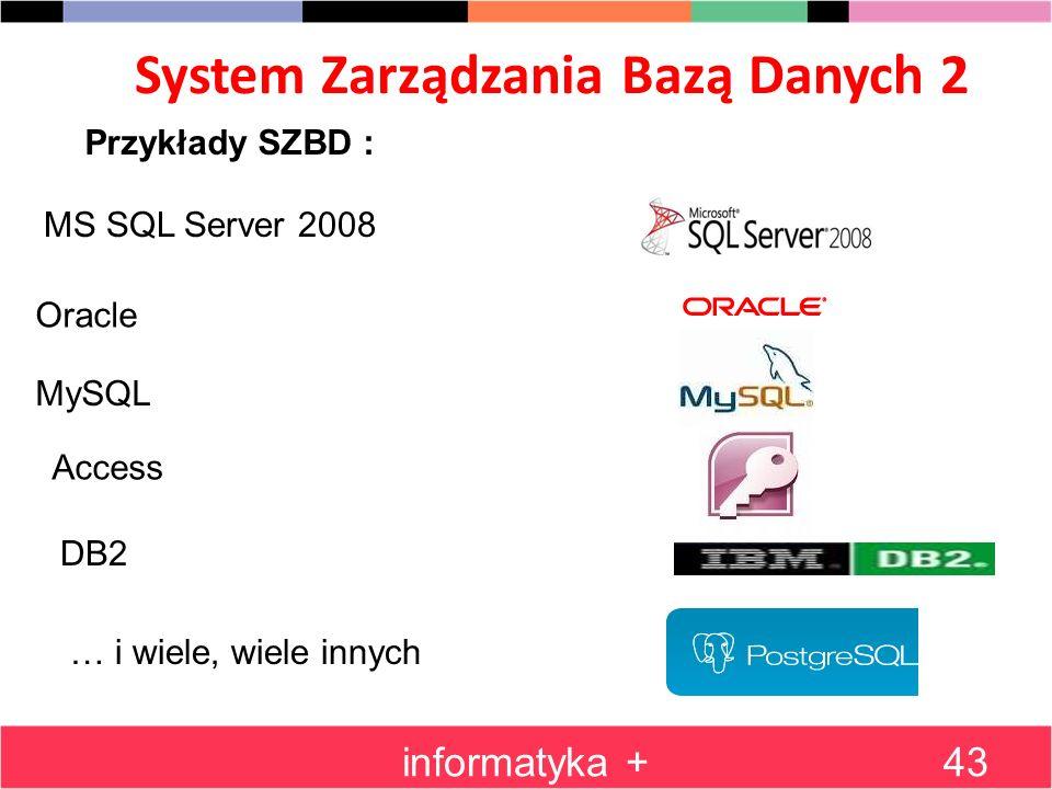 System Zarządzania Bazą Danych 2 informatyka +43 MS SQL Server 2008 Przykłady SZBD : Oracle MySQL Access DB2 … i wiele, wiele innych