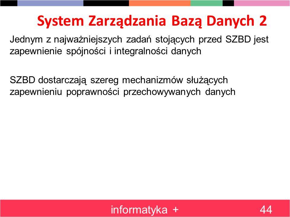 System Zarządzania Bazą Danych 2 informatyka +44 Jednym z najważniejszych zadań stojących przed SZBD jest zapewnienie spójności i integralności danych