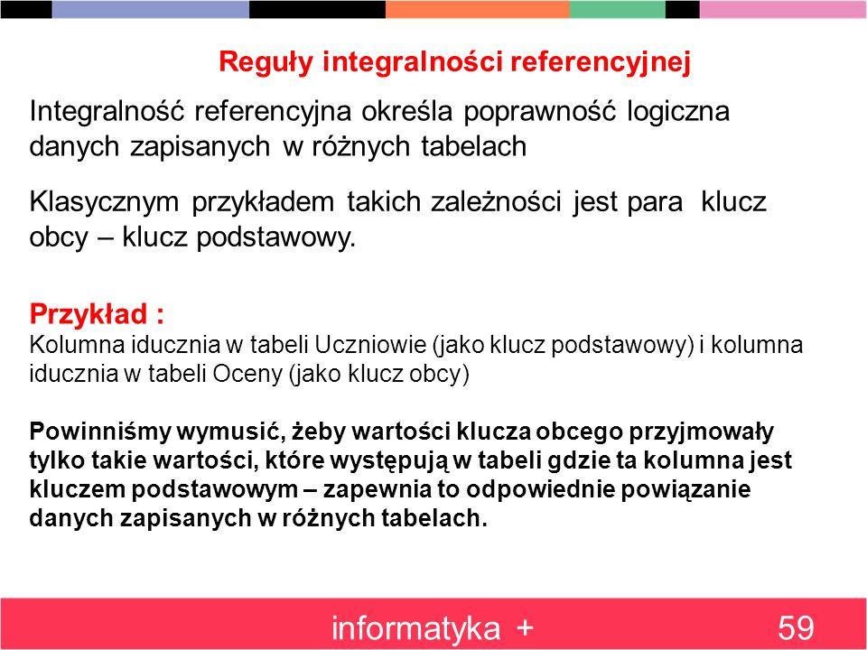 Reguły integralności referencyjnej informatyka +59 Integralność referencyjna określa poprawność logiczna danych zapisanych w różnych tabelach Klasyczn