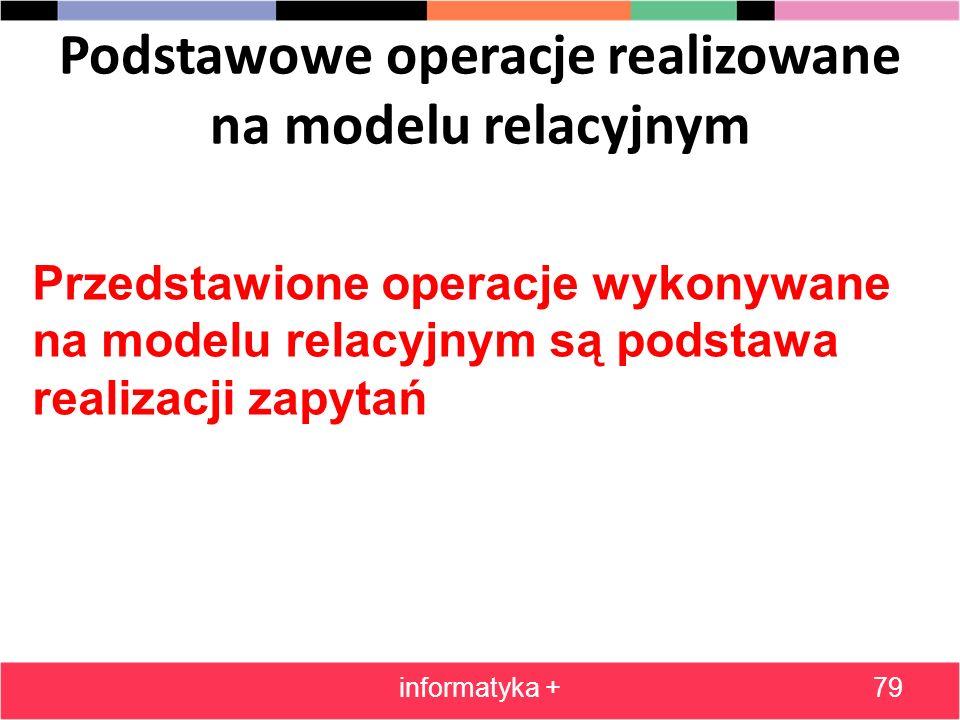 Podstawowe operacje realizowane na modelu relacyjnym informatyka +79 Przedstawione operacje wykonywane na modelu relacyjnym są podstawa realizacji zap