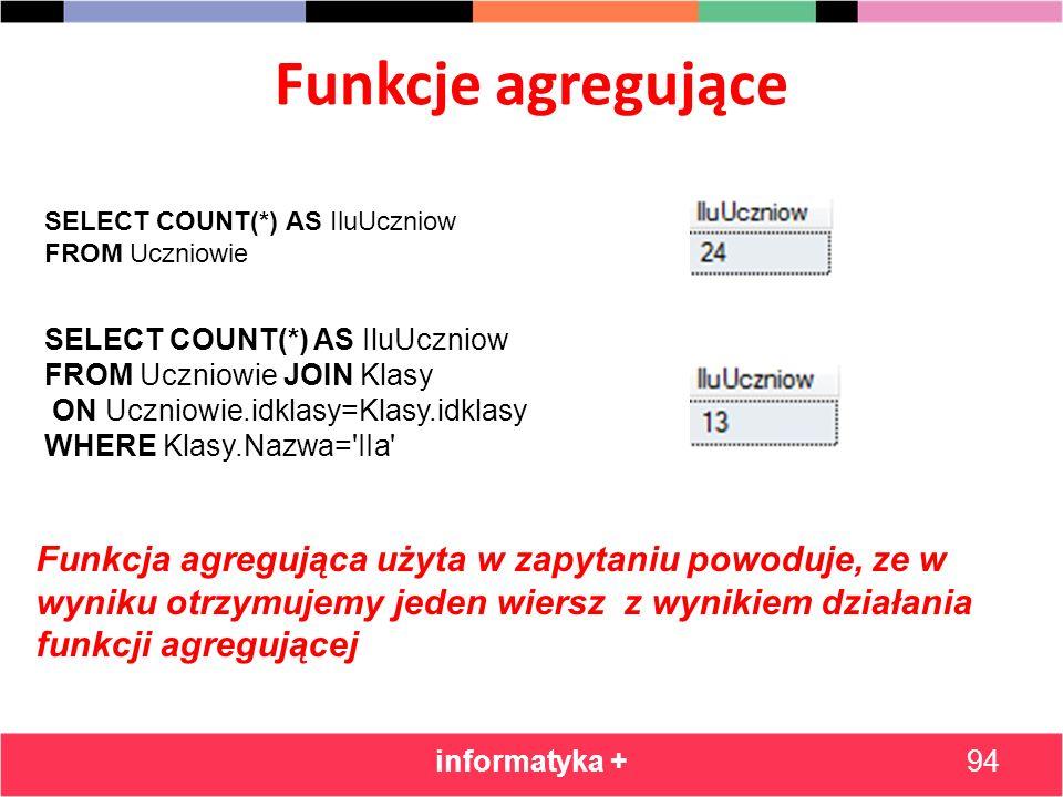 Funkcje agregujące informatyka +94 SELECT COUNT(*) AS IluUczniow FROM Uczniowie SELECT COUNT(*) AS IluUczniow FROM Uczniowie JOIN Klasy ON Uczniowie.i