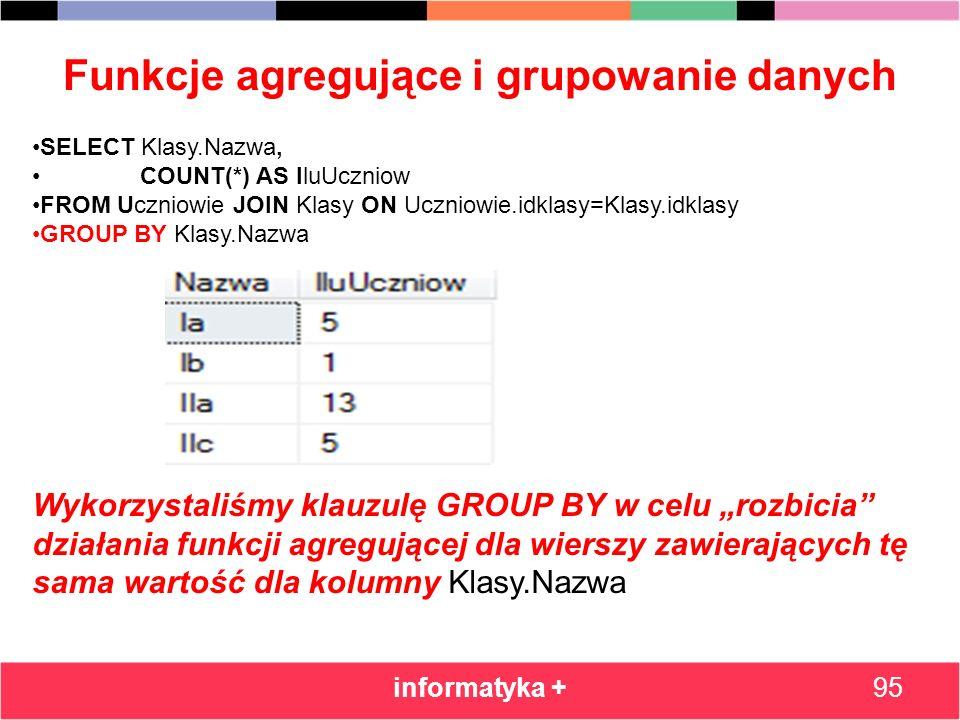 Funkcje agregujące i grupowanie danych informatyka +95 SELECT Klasy.Nazwa, COUNT(*) AS IluUczniow FROM Uczniowie JOIN Klasy ON Uczniowie.idklasy=Klasy
