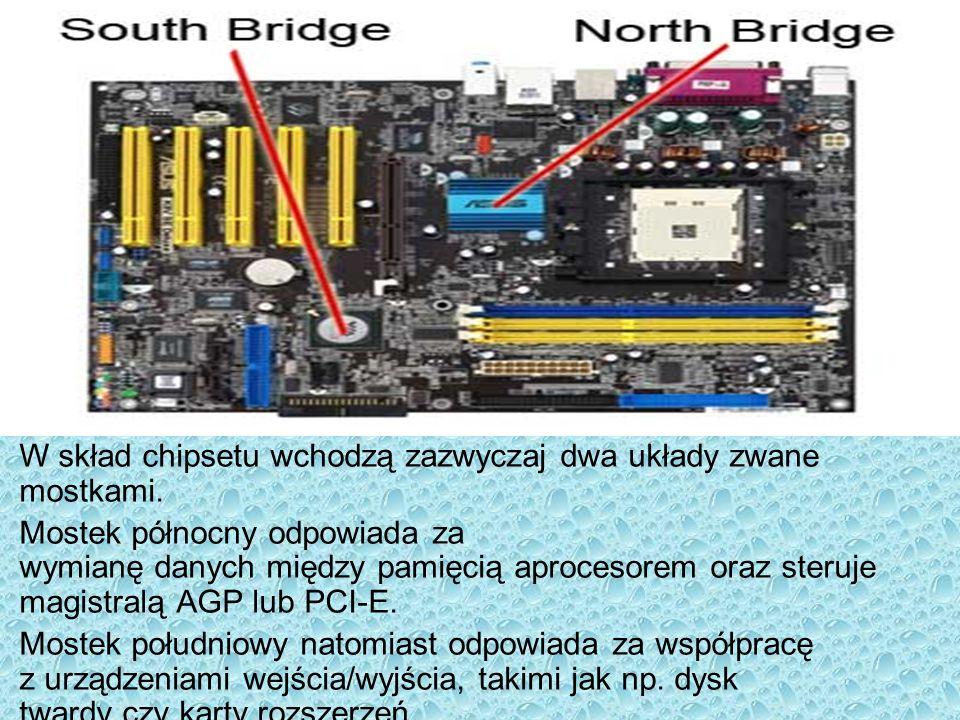 W skład chipsetu wchodzą zazwyczaj dwa układy zwane mostkami. Mostek północny odpowiada za wymianę danych między pamięcią aprocesorem oraz steruje mag