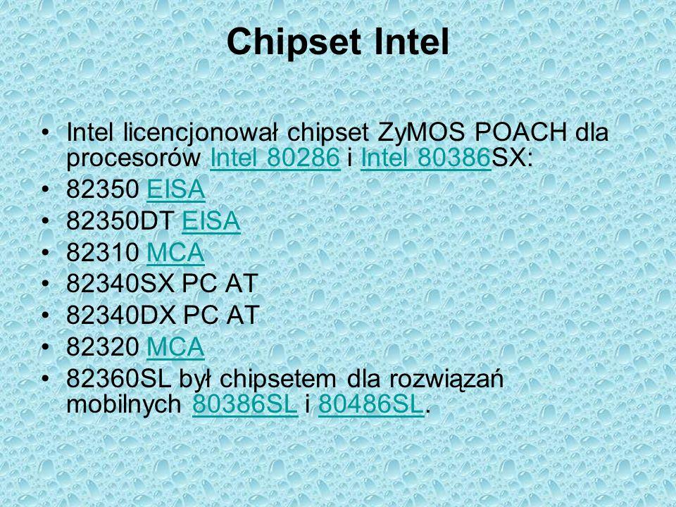 Chipset Intel Intel licencjonował chipset ZyMOS POACH dla procesorów Intel 80286 i Intel 80386SX:Intel 80286Intel 80386 82350 EISAEISA 82350DT EISAEIS
