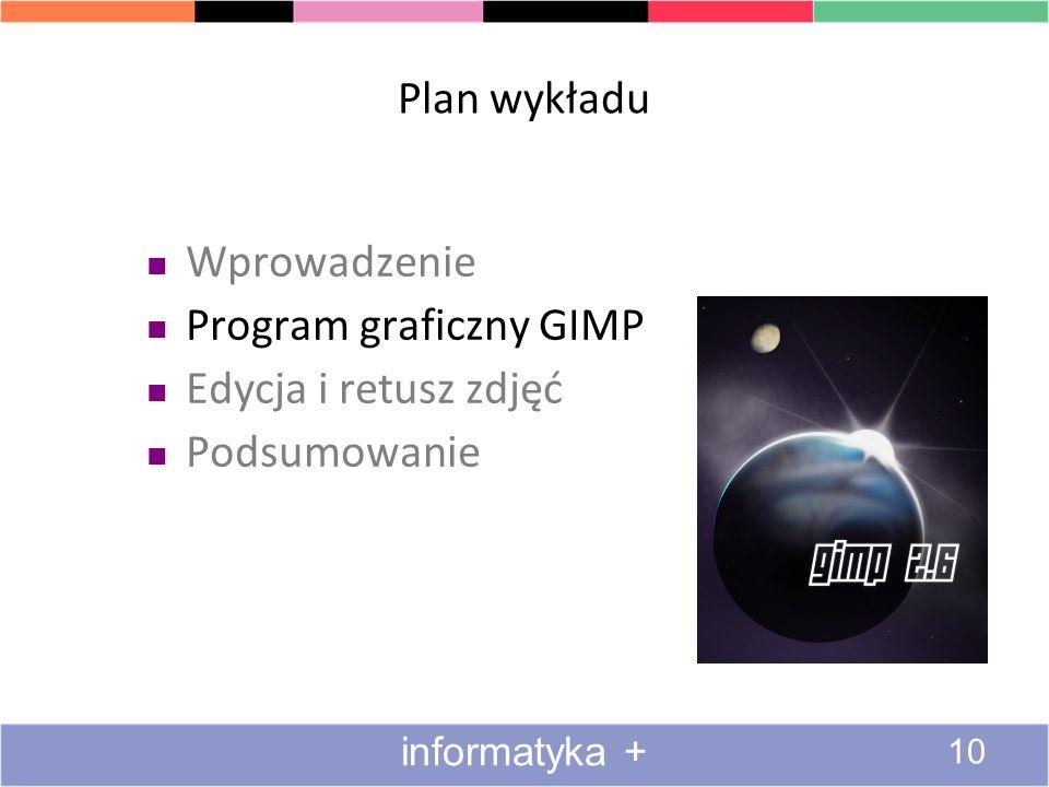 Plan wykładu Wprowadzenie Program graficzny GIMP Edycja i retusz zdjęć Podsumowanie 10 informatyka +