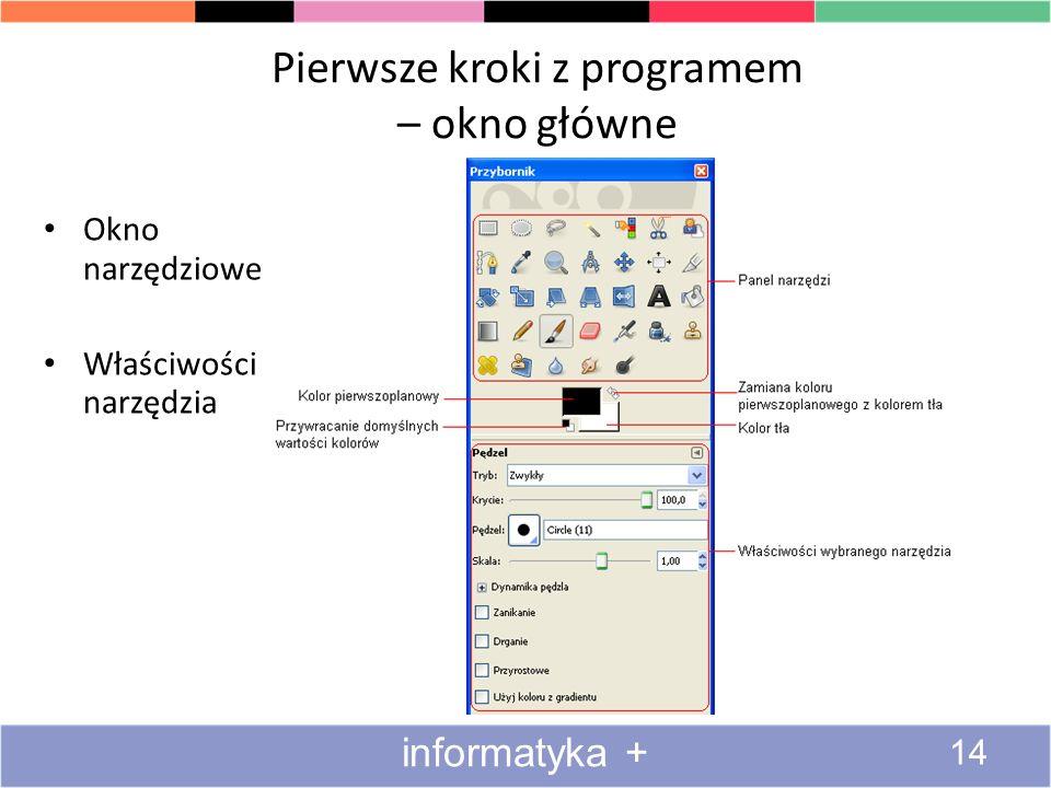 Pierwsze kroki z programem – okno główne Okno narzędziowe Właściwości narzędzia 14 informatyka +