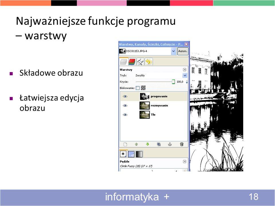 Najważniejsze funkcje programu – warstwy Składowe obrazu Łatwiejsza edycja obrazu 18 informatyka +