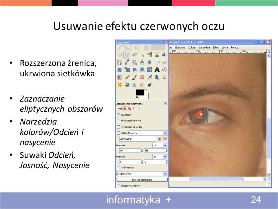 Usuwanie efektu czerwonych oczu 24 informatyka + Rozszerzona źrenica, ukrwiona sietkówka Zaznaczanie eliptycznych obszarów Narzedzia kolorów/Odcień i