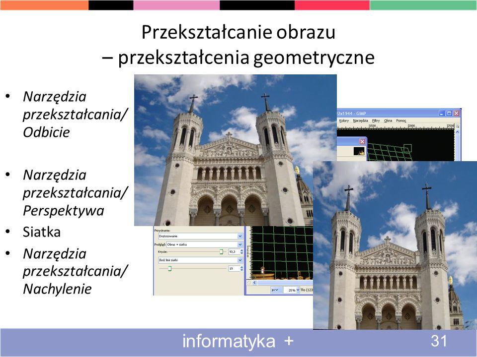Przekształcanie obrazu – przekształcenia geometryczne 31 informatyka + Narzędzia przekształcania/ Odbicie Narzędzia przekształcania/ Perspektywa Siatk