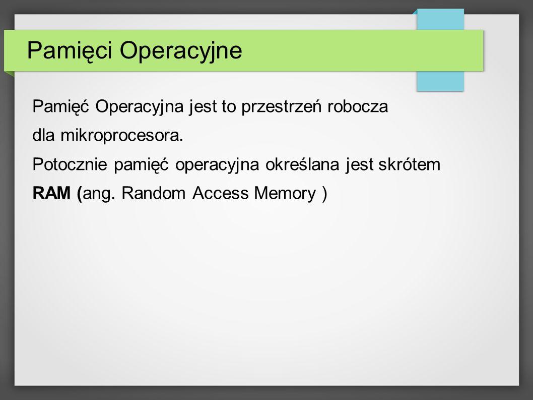Pamięci Operacyjne Pamięć Operacyjna jest to przestrzeń robocza dla mikroprocesora. Potocznie pamięć operacyjna określana jest skrótem RAM (ang. Rando
