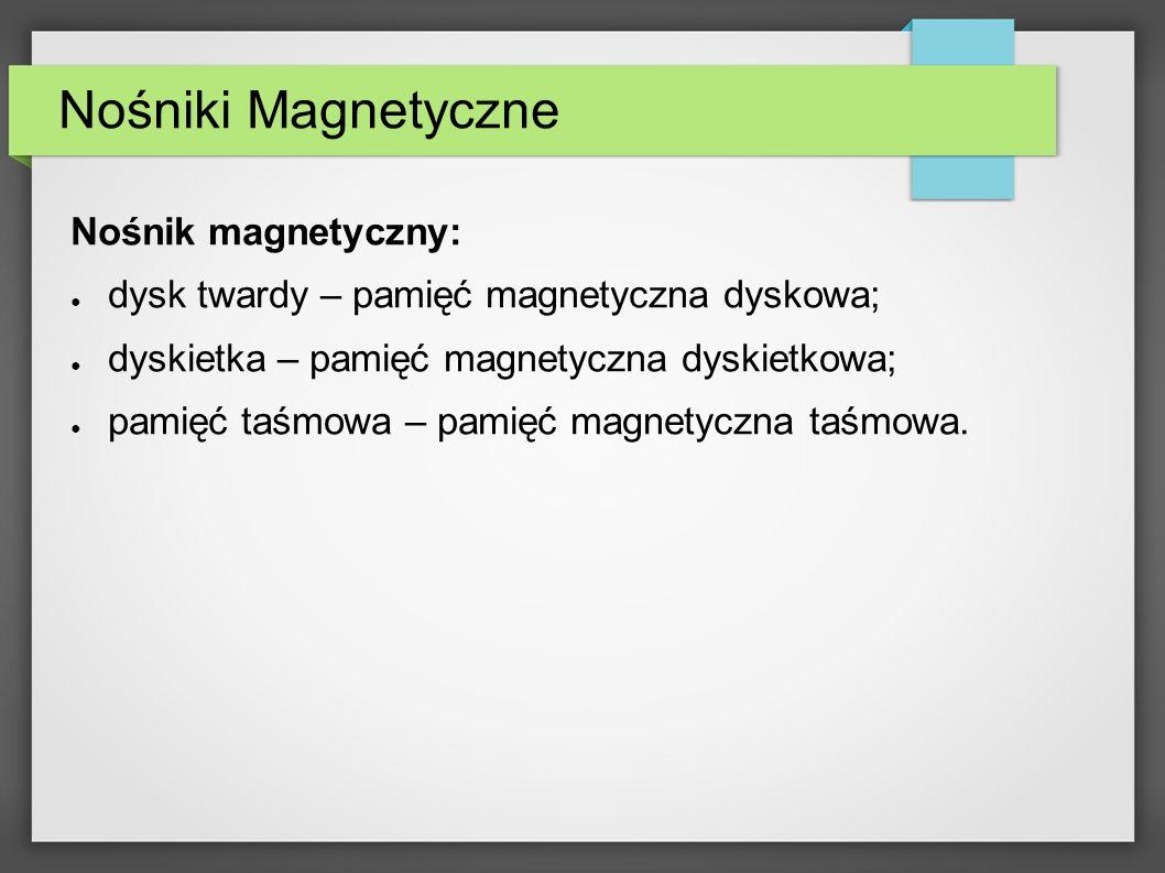 Nośniki Magnetyczne Nośnik magnetyczny: dysk twardy – pamięć magnetyczna dyskowa; dyskietka – pamięć magnetyczna dyskietkowa; pamięć taśmowa – pamięć