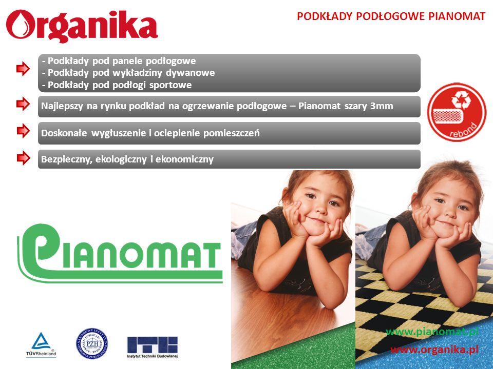 www.organika.pl PODKŁADY PODŁOGOWE PIANOMAT - Podkłady pod panele podłogowe - Podkłady pod wykładziny dywanowe - Podkłady pod podłogi sportowe Najleps