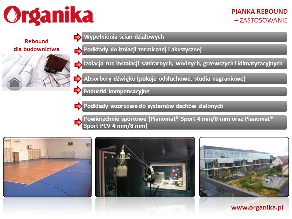 www.organika.pl Wypełnienia ścian działowych Podkłady do izolacji termicznej i akustycznej Izolacja rur, instalacji sanitarnych, wodnych, grzewczych i
