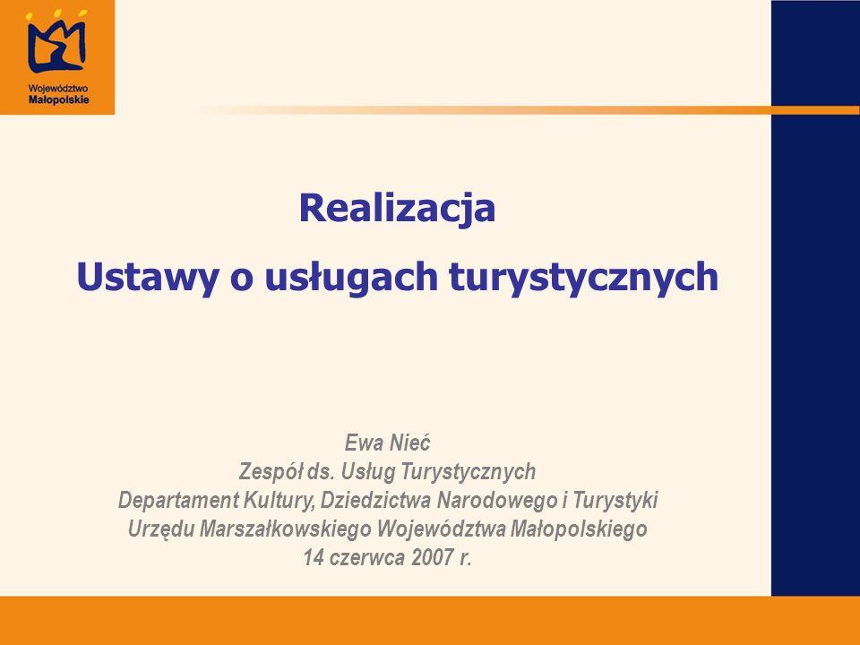 Podnoszenie jakości usług turystycznych Realizacja ustawy o usługach turystycznych Ustawa z dnia 29 sierpnia 1997r.