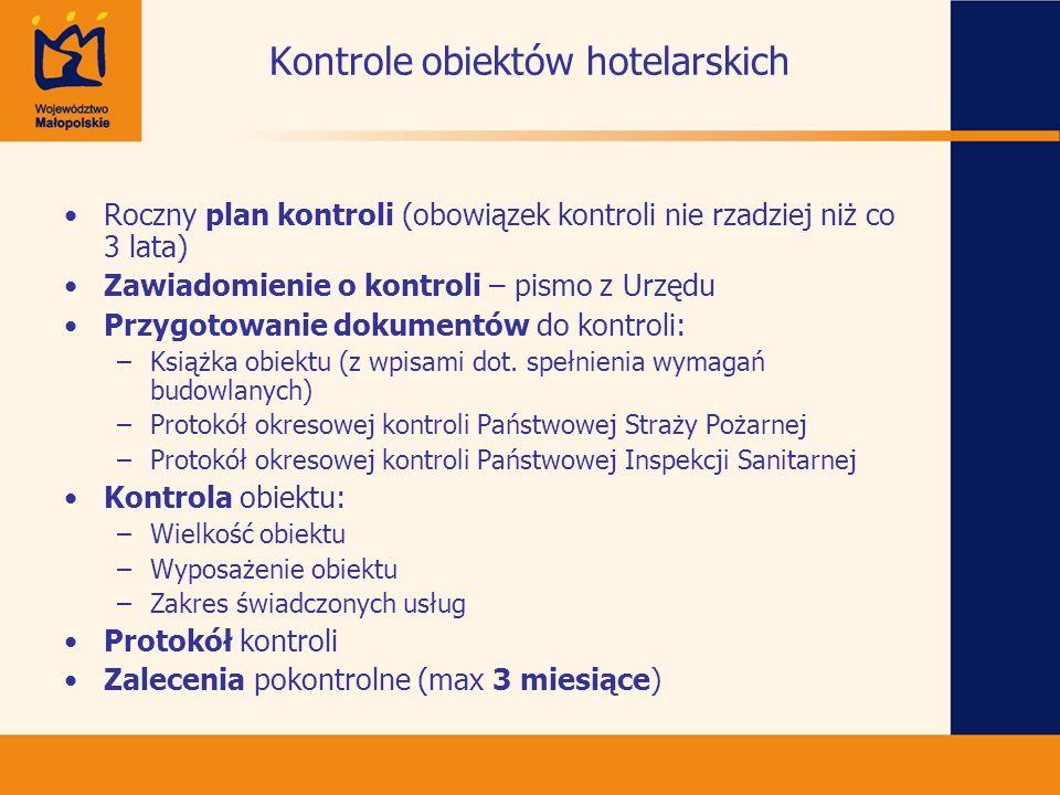 Kontrole obiektów hotelarskich Roczny plan kontroli (obowiązek kontroli nie rzadziej niż co 3 lata) Zawiadomienie o kontroli – pismo z Urzędu Przygoto