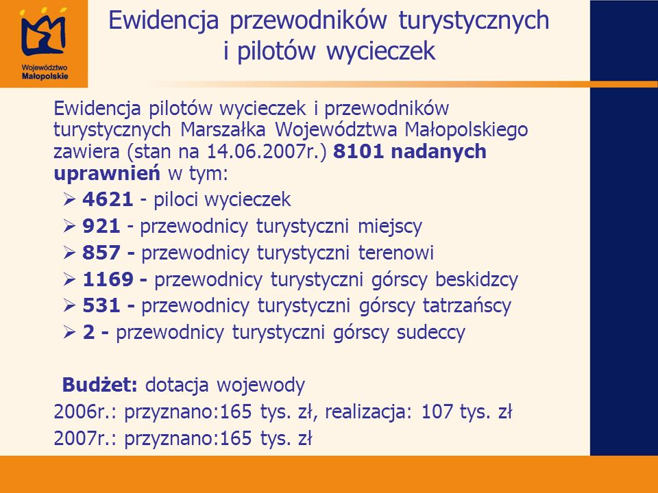 Ewidencja przewodników turystycznych i pilotów wycieczek Ewidencja pilotów wycieczek i przewodników turystycznych Marszałka Województwa Małopolskiego
