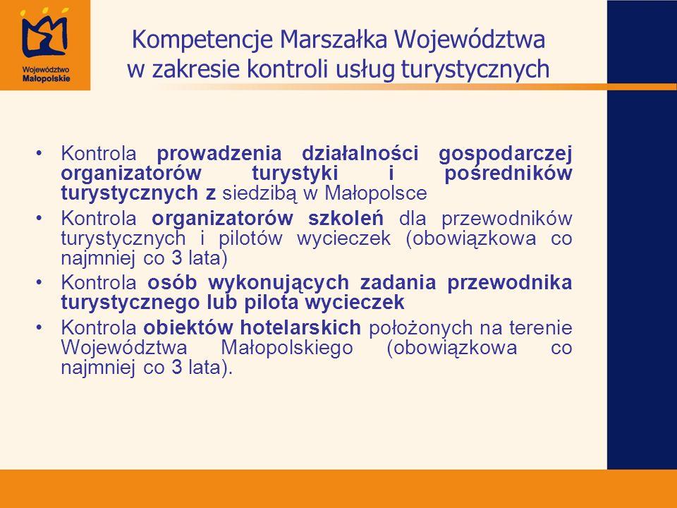 Kompetencje Marszałka Województwa w zakresie kontroli usług turystycznych Kontrola prowadzenia działalności gospodarczej organizatorów turystyki i poś