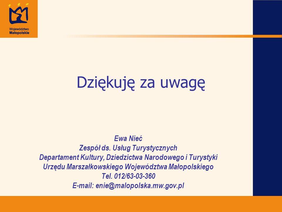 Dziękuję za uwagę Ewa Nieć Zespół ds. Usług Turystycznych Departament Kultury, Dziedzictwa Narodowego i Turystyki Urzędu Marszałkowskiego Województwa