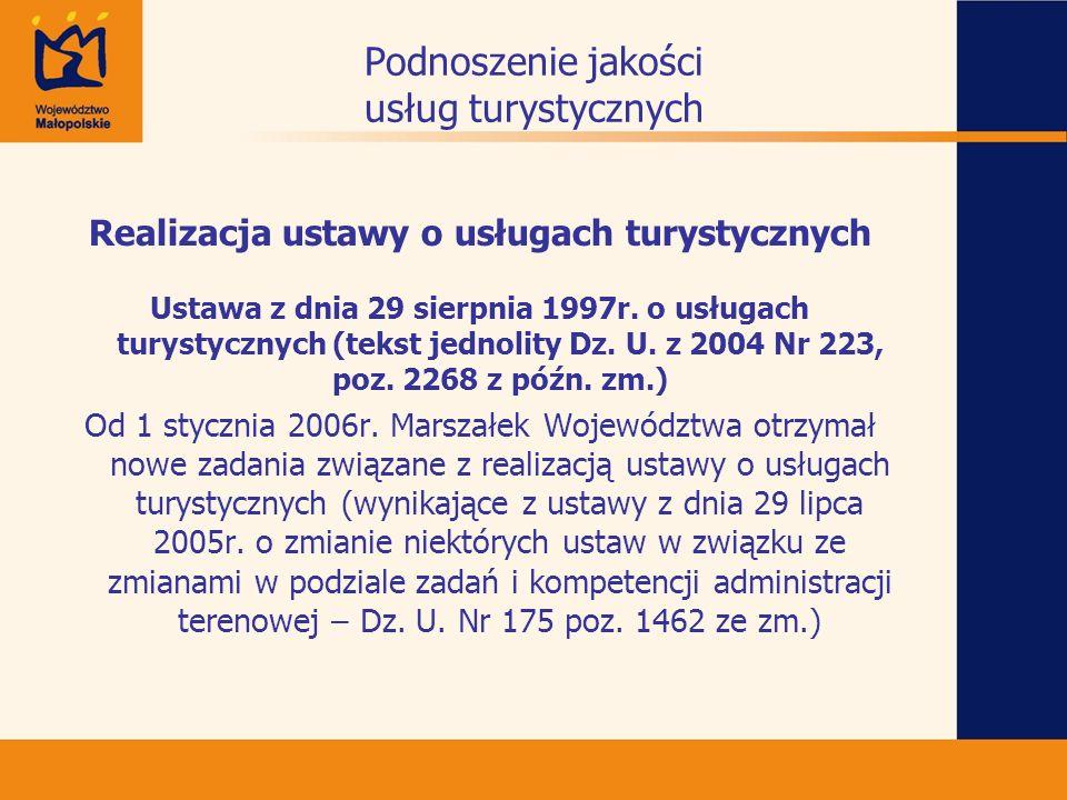 Podnoszenie jakości usług turystycznych Realizacja ustawy o usługach turystycznych Ustawa z dnia 29 sierpnia 1997r. o usługach turystycznych (tekst je