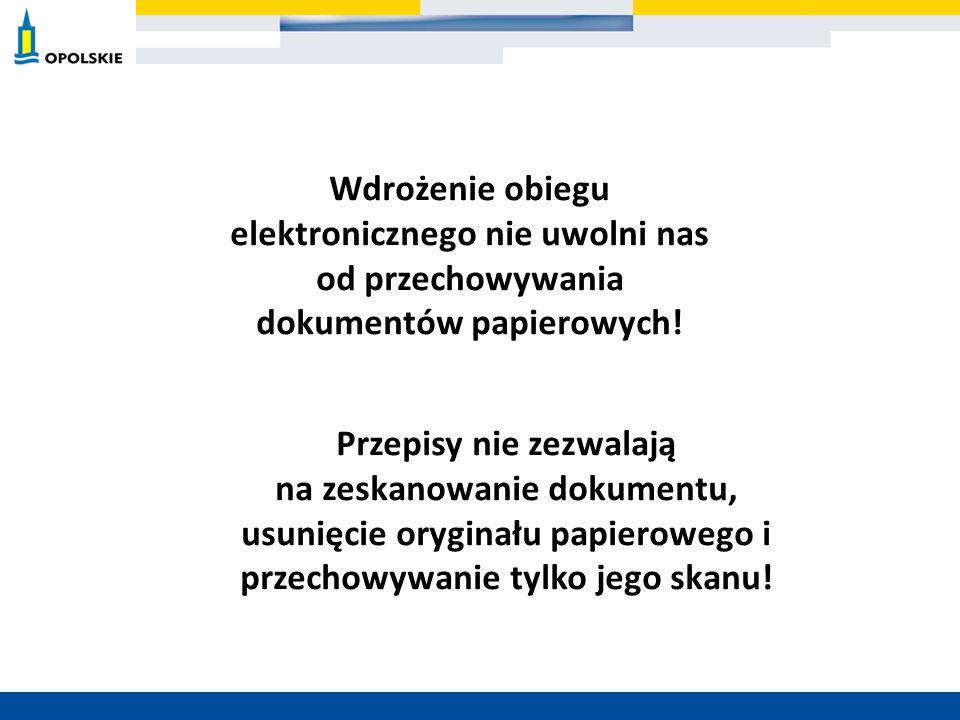 Wdrożenie obiegu elektronicznego nie uwolni nas od przechowywania dokumentów papierowych! Przepisy nie zezwalają na zeskanowanie dokumentu, usunięcie
