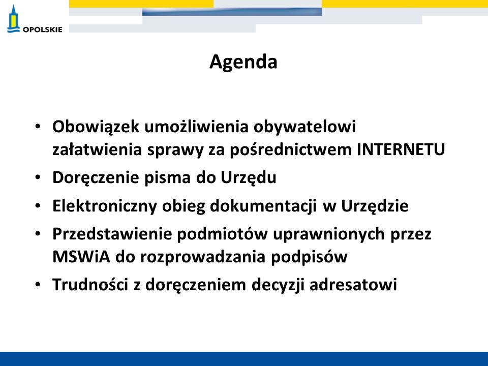 Agenda Obowiązek umożliwienia obywatelowi załatwienia sprawy za pośrednictwem INTERNETU Doręczenie pisma do Urzędu Elektroniczny obieg dokumentacji w